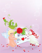 Valentines Day illustration with rose, angel, letter and dove. — Stock Vector
