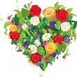 Heart shape is made of beautiful flowers - roses, pansies, bell — Vettoriali Stock