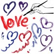 Set of brush strokes and scribbles in heart shapes and word LOVE — Imagen vectorial