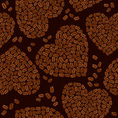 Seamless pattern with Heart shapes are made of coffee beans. Bac — Stock Vector
