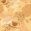 Love concept - seamless pattern with cup of coffee, croissant, f — 图库矢量图片