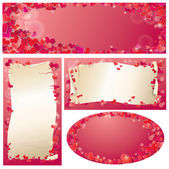 Set of Valentines Day horizontal, vertical, oval banners with R — Stock Vector