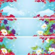 Set of Valentines Day horizontal banners with Red hearts confet — Imagen vectorial