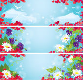 Set of Valentines Day horizontal banners with Red hearts confet — Stockvektor