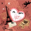 Vintage Valentine's Day Postcard with Paris theme - Effel tower, — Stok Vektör