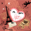 Stock Vector: Vintage Valentine's Day Postcard with Paris theme - Effel tower,