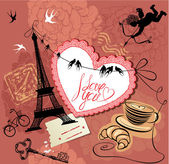 Vintage Valentine's Day Postcard with Paris theme - Effel tower, — ストックベクタ