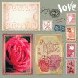 Set of vintage postcards with a beautiful hand drawing roses and — 图库矢量图片