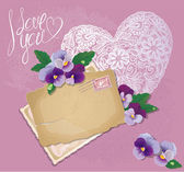 Vintage postcards, beautiful pansy flowers, lace heart and calli — Stock Vector