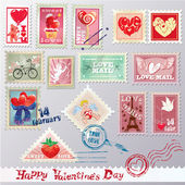 Set of vintage post stamps with hearts for Valentines Day design — Stock Vector