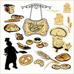 Set of different bakery - bread, pie, biscuit, cakes. Hand writt — Stock Vector