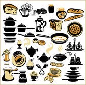 Set of different food - bread, pie, biscuit, cakes, eaggs, omele — Vector de stock