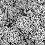 Lace seamless pattern with flowers - fabric background — Vetor de Stock