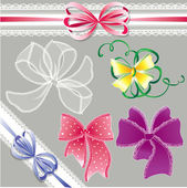 Set of different colors lace bows - for holidays design — Stock Vector