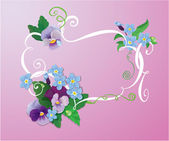 Valentines Day or Wedding card with pansy and forget-me-not flow — Stock Vector