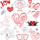 Set of hand written text: Happy Valentines Day, I love you, Jus — Vettoriale Stock