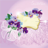 Valentines Day or Wedding card with pansy and forget-me-not flow — Vector de stock
