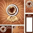 Template designs of menu and business cards for cofee house. Bac — Stock Vector