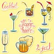 Set of alkohol drinks images and hand written text: Happy Hour, — Vecteur