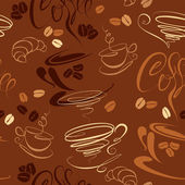 Seamless pattern with coffee cups, beans, croissant, calligraphi — Stock Vector