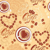 Seamless pattern with coffee cups, beans, heart shapes, calligra — Stock Vector