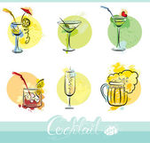Set of alkohol drinks images in grunge style. Calligraphy elemen — Stock Vector