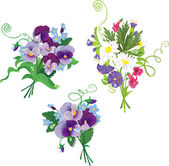 Set of holidays bouquets with chamomiles, pansies and forget me — Stock Vector