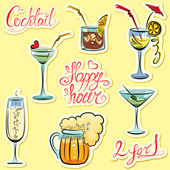 Set of alkohol drinks images and hand written text: Happy Hour, — Stok Vektör