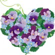 Heart shape is made of beautiful flowers - pansy and forget me n — Stock Vector