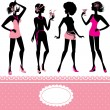 Set of fashionable girls silhouettes on a white background. Part — Stock Vector