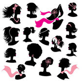 Set of woman and girl silhouettes with hair styling and accessor — Stock Vector