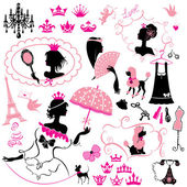 Fairytale Set - silhouettes of princess girls with accessories, — Stock Vector