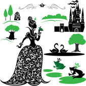 Fairytale Set - silhouettes of Princess and frog, castle, forest — Stock Vector