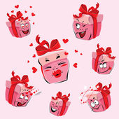 Set of pretty pink gift boxes cartoons with different expression — Stock Vector