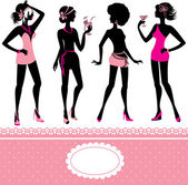 Set of fashionable girls silhouettes on a white background. Part — Stockvektor