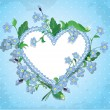 Bouquet of beautiful forget me not flowers and lace heart on blu — Stock Vector
