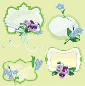 Set of Birthday, Valentines Day or Wedding frames with pansy and — Stock Vector