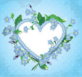 Bouquet of beautiful forget me not flowers and lace heart on blu — Stockvector