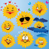Set of cute cartoons of sun with different expressions and emoti — Stock Vector