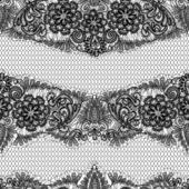 Black Lace seamless pattern with flowers on white background - — Stockvector
