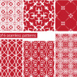 Set of fabric textures with different lattices - seamless patter — Stock Vector