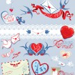 Collection of love mail design elements - birds, envelops, heart — Stok Vektör