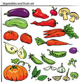 Set of delicious vegetables and fruits. — Stock Vector