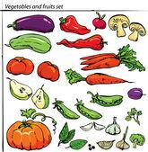 Set van heerlijke groenten en fruit. — Stockvector