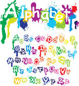 Hand drawn alphabet - letters are made of water colors, ink spl — Stock Vector