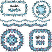 Set of round and oval frames and vintage design elements — Stock Vector