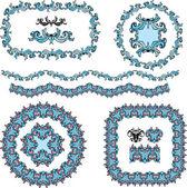 一連の円形および楕円形のフレームとヴィンテージ デザイン要素 — ストックベクタ