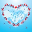 Swallows and hearts on sky background with clouds, calligraphic — Vetorial Stock #39853095