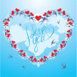 Swallows and hearts on sky background with clouds, calligraphic — Vector de stock
