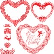 Set of vintage ornamental hearts shapes with calligraphic text B — Vector de stock  #39853105